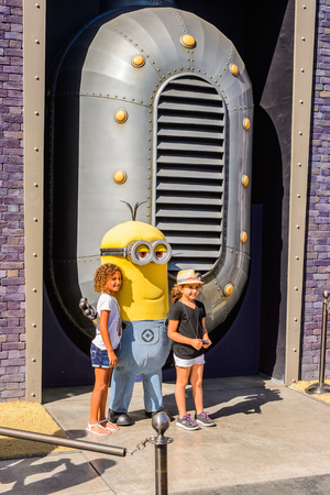 LOS ANGELES, USA - SEP 27, 2015: Minios and the Descpicable Me area at the Hollywood Universal Studios. Minions is a 2015 American 3D computer-animated family film