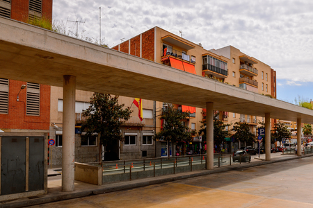 LLORET, SPAIN - AUG 11, 2017: Bus station of Lloret del Mar, a popular touristic resort city in Catalunya
