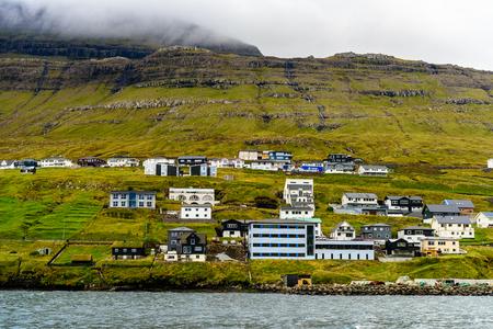 Houses in Klaksvik, the second largest town of the Faroe Islands, autonomous region of the Kingdom of Denmark
