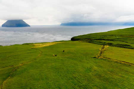 Aerial view of Sandoy, one of the biggest of all the Faroe Islands, autonomous region of the Kingdom of Denmark