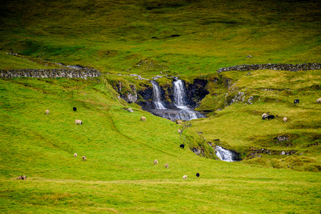 Nature of Sandoy, one of the biggest of all the Faroe Islands, autonomous region of the Kingdom of Denmark