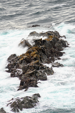 Rocks and water of Suduroy, the southernmost of the Faroe Islands, autonomous region of the Kingdom of Denmark