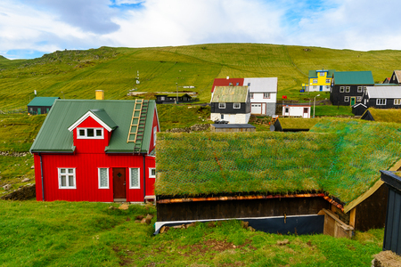 Architecture of Mykines, the westernmost island the Faroe Archipelago