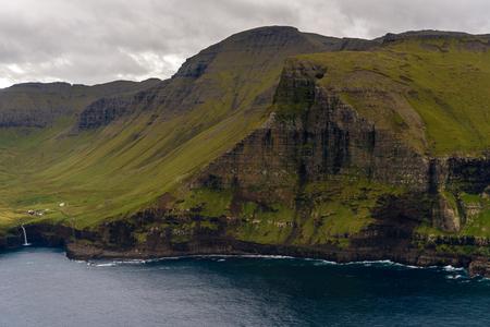 Aerial panaorama of Mykines, the westernmost island the Faroe Archipelago