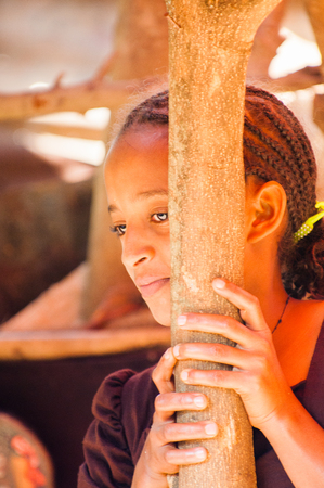 OMO, ETHIOPIA - SEPTEMBER 20, 2011: Unidentified Ethiopian beautiful girl stays near a wooden trunk. People in Ethiopia suffer of poverty due to the unstable situation