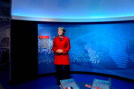 VIENNA, AUSTRIA - OCT 4, 2017: Angela Merkel, the Chancellor of Germany, Madame Tussauds wax museum in Vienna.