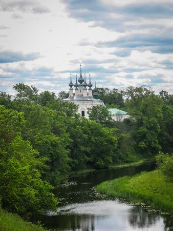 Landscape with White stone church in Suzdal, Vladimir region, Russia