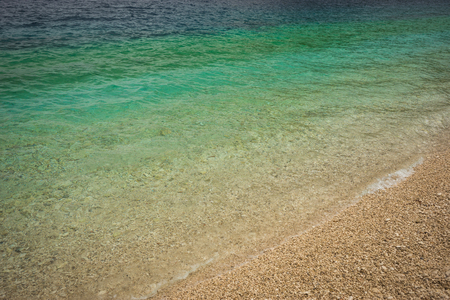 Incredibly beautiful color of sea water on the beach Antisamos, Kefalonia, Greece