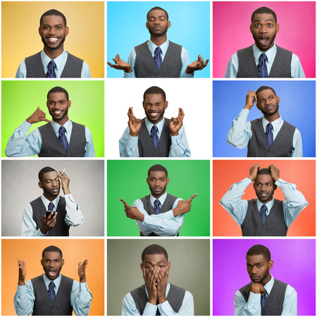 Mosaic, collage young handsome business man expressing different emotions, facial expressions feeling on different color background. Human life perception body language gestures. Mood, behavior swings