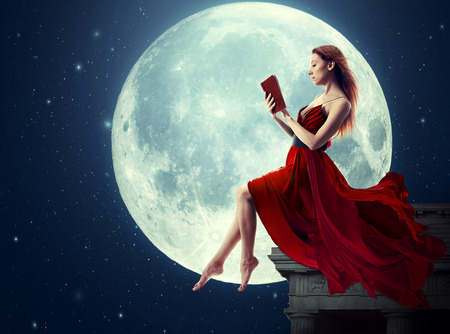 Cute woman, female reading book, moonlight sky night skyline, night skyline clouds background. Dreamy,  nature landscape screen saver, artistic illustration.