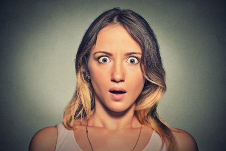 Photo pour Concerned scared shocked woman - image libre de droit