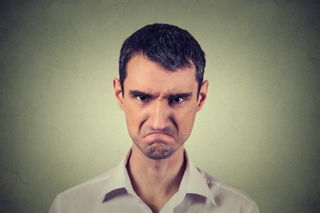 Photo for Closeup portrait of angry young man about to have nervous atomic breakdown isolated on gray background. Negative human emotions facial expression feelings attitude - Royalty Free Image