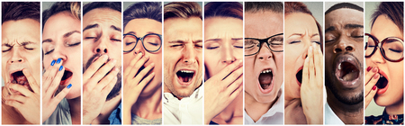 Photo for Multiethnic group of sleepy people women and men with wide open mouth yawning eyes closed looking bored. Lack of sleep laziness concept  - Royalty Free Image