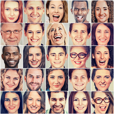 Smiling faces. Happy group of multiethnic people men and women