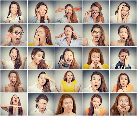 Photo for Collage of a young woman expressing different emotions - Royalty Free Image