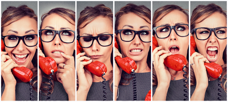 Photo for Woman changing emotions from happy to angry while answering the phone - Royalty Free Image