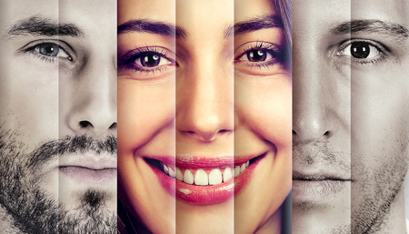 Photo pour Collage of a happy beautiful woman in-between two serious men  - image libre de droit