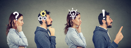 Photo pour Emotional intelligence. Thoughtful man and woman thinking solving together a common problem. Human face expressions - image libre de droit
