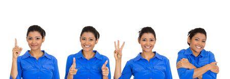 Photo pour Cute happy young woman giving different gestures - image libre de droit