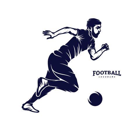 Illustration pour Soccer and Football Player Man logo vector. Silhouette - image libre de droit
