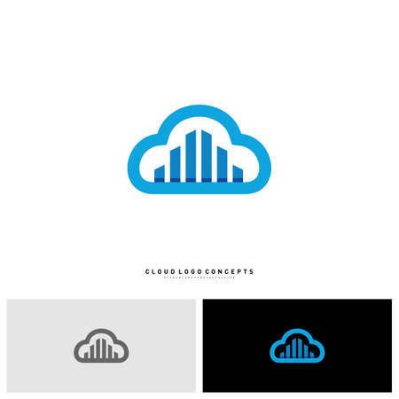 Illustration pour Modern Building Cloud Logo Design Concept Vector. Cloud City Logo Template Vector - image libre de droit