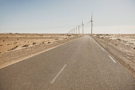 Photo for A road to the windmills electric power production - Royalty Free Image