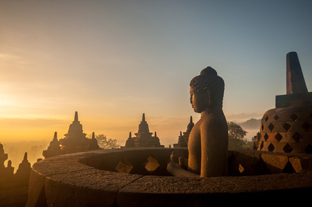 Borobudur Temple at sunrise, Yogyakarta, Java, Indonesia. (silhouette scene)