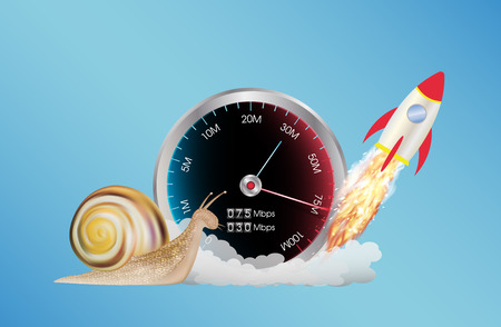 Ilustración de internet speed meter with rocket and snail - Imagen libre de derechos