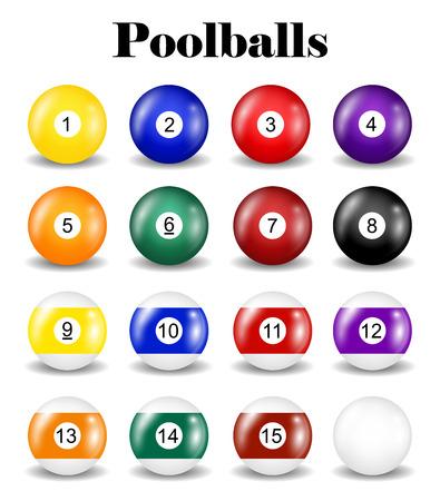 Set of real pool balls.