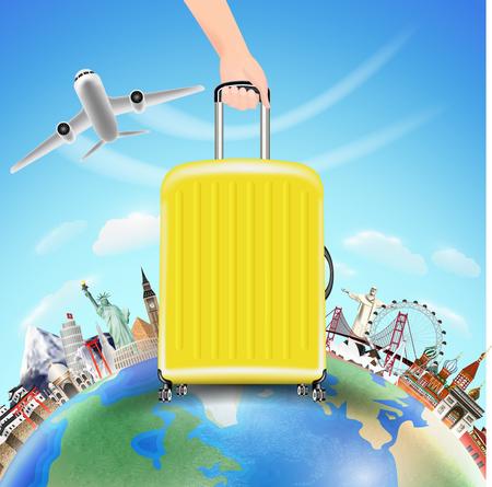 Ilustración de A hand pick suitcase with world travel landmark - Imagen libre de derechos