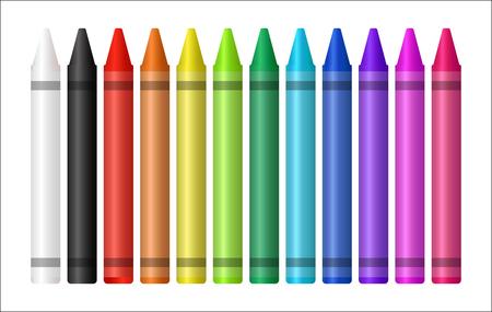 Ilustración de Set of color crayons on white background - Imagen libre de derechos