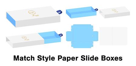 Illustration pour Slide box die cut mock up template vector. - image libre de droit