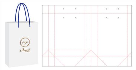 Illustration pour A paper bag packaging die-cut and 3d bag mock up - image libre de droit