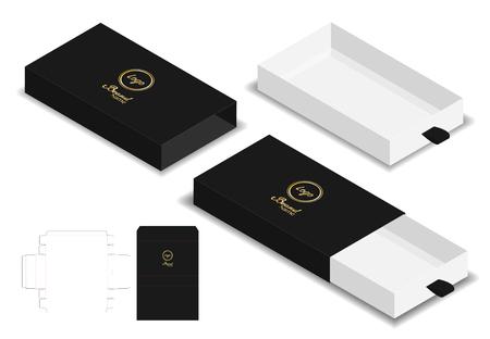 Ilustración de box packaging die cut template 3D mockup - Imagen libre de derechos