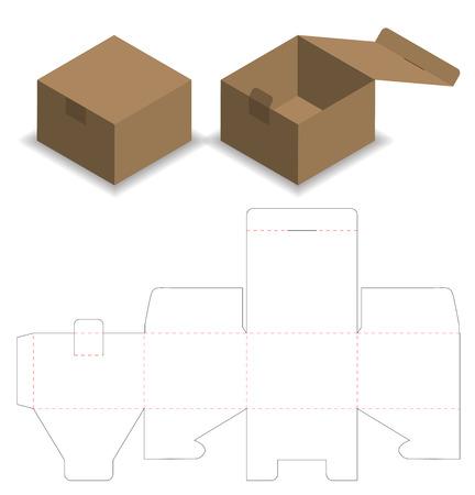 Illustration pour Box packaging die cut template design. 3d mock-up - image libre de droit