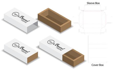 Illustration for slide box die cut mock up template vector - Royalty Free Image