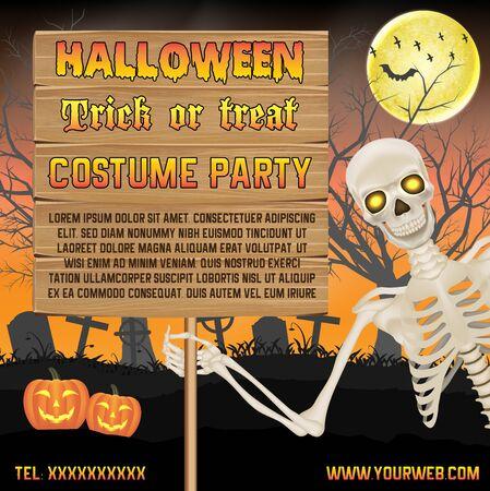 Illustration pour halloween promotion banner with skeleton on graveyard poster - image libre de droit
