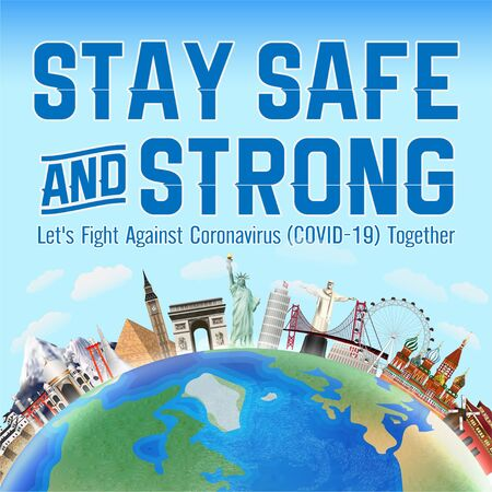 Illustration pour stay safe and strong fight coronavirus together - image libre de droit