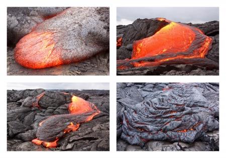 Basaltic pahoehoe lava flow in Hawaii  Kilauea volcano, Pu