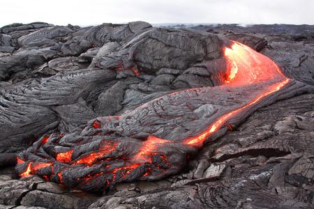 Forming lava landscape in Hawaii. Kilauea volcano, Pu'u O'o vent.