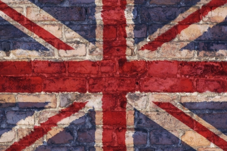 Uk flag graphic on brick bac