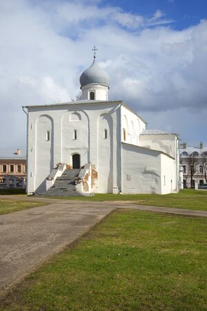 The old church of the Assumption cloudy april afternoon. Velikiy Novgorod, Russia
