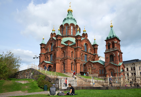 HELSINKI, FINLAND - AUGUST 28, 2016: An orthodox cathedral of the Dormition of the Theotokos in the August afternoon. Helsinki, Finland