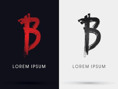 B grungy font brush symbol icon graphic vector .