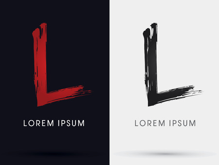 L grungy font brush symbol icon graphic vector .
