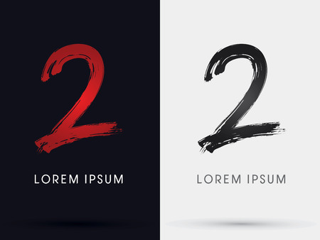 2  Number two grungy font brush symbol icon graphic vector .