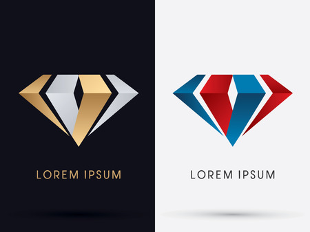 Abstract Jewelry diamond gemstone designed using gold and silver  red and blue colors logo symbol icon graphic vector.