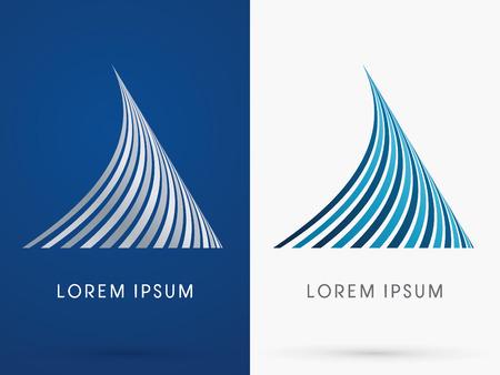 Illustration pour Shark fin Abstract  Shape designed using blue and black line geometric shape  logo symbol icon graphic vector. - image libre de droit