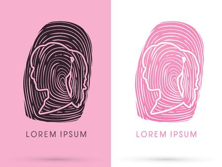 Woman Fingerprint, sign, logo, symbol, icon, graphic, vector.