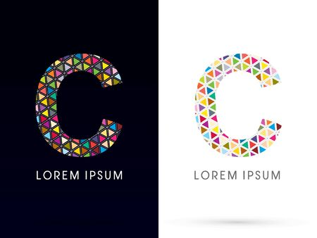 C ,Colorful font, concept mosaic pattern,designed using colors triangle geometric shape. on dark and white background, sign ,logo, symbol, icon, graphic, vector.